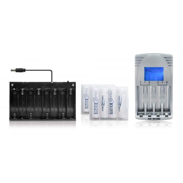 Batteriebox f??r mobile LED Anwendungen - Lieferumfang mit 2x 4 Ansmann maxE PRO Mignon AA Akkus + Ansmann Photocam IV Steckerladeger??t