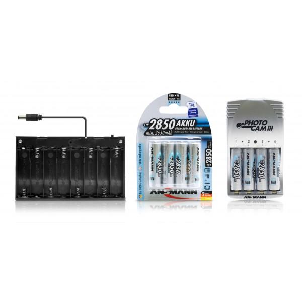 Batteriebox f??r mobile LED Anwendungen - Lieferumfang mit 2x 4 Ansmann 2850 mAh Mignon AA Akkus + Ansmann Photocam III Steckerladeger??t