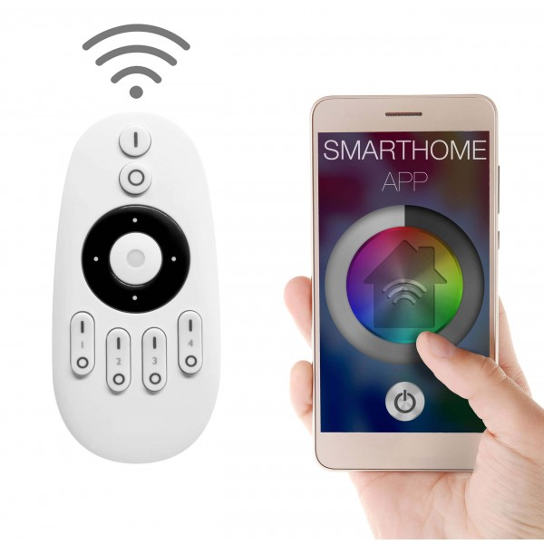 4 Zonen Funkfernbedienung für einfarbige LED Streifen (mit Smartphone App)