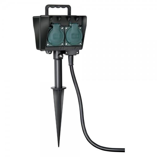 Brennenstuhl Gartensteckdose mit Erdspieß IP44 4-fach 1,4m H07RN-F 3G1,5 schwarz