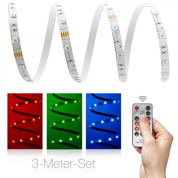 Classic 12V RGB LED Streifen 3m Set 30 LED/m - mit 17-Tasten-Infrarotfernbedienung