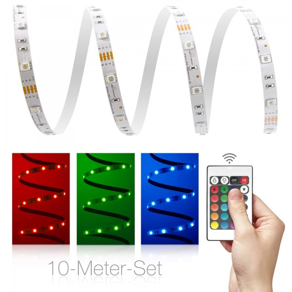 Classic 12V RGB LED Streifen 10m Set 30 LED/m - mit 24-Tasten-Infrarotfernbedienung