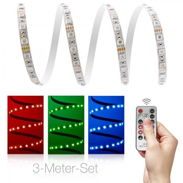 Classic 12V RGB LED Streifen 3m Set 60 LED/m - mit 17-Tasten-Infrarotfernbedienung
