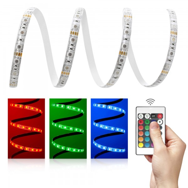 Comfort 12V RGB LED Streifen Set 60 LED/m - mit 24-Tasten-Infrarotfernbedienung