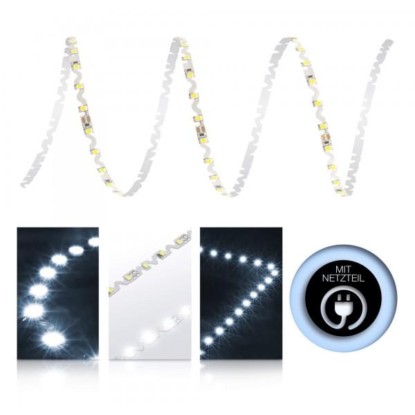 Premium 24V S-Shape Streifen - 72 LED/m - kaltweiß - mit Netzteil