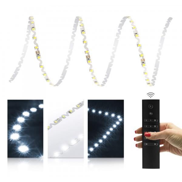 Premium S-Shape Streifen kaltweiß - Smart Home Funk-Set - mit 6-Zonen-Funkfernbedienung