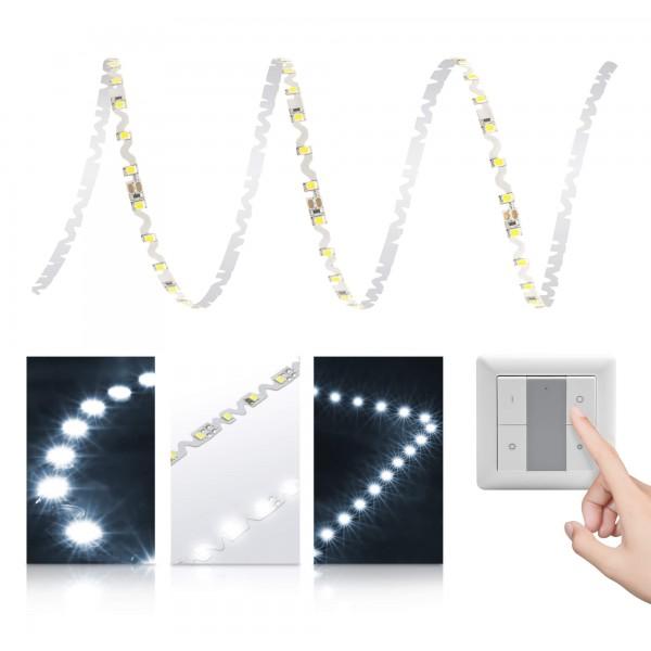 Premium S-Shape Streifen kaltweiß - Smart Home Funk-Set - mit Funklichtschalter