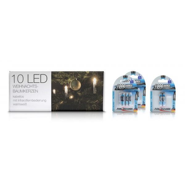 LED Weihnachtsbaumkerzen - Lieferung mit 10?- Micro AAA Akkus von Ansmann