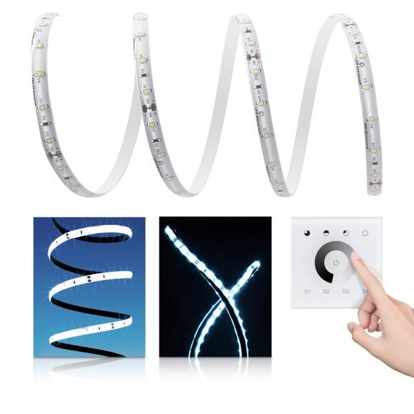 Premium LED Streifen kaltweiß 60 LED/m - Unterputzsteuerung