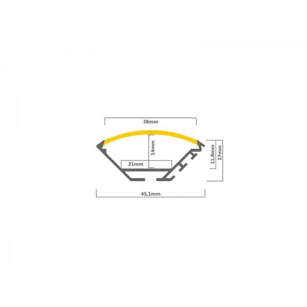 45° Aluminium Winkel Profil 45 x 17mm | Maße