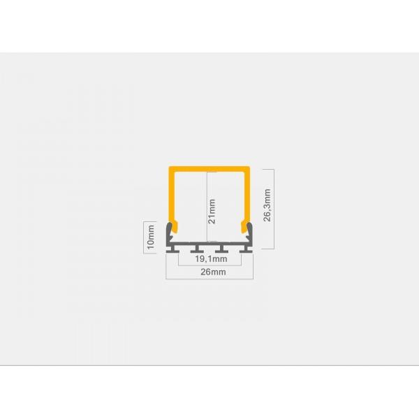 U-Profil | 26 x 10mm | Eloxiertes Aluminium | Matte Blende | Endkappe | Montageklammern - Bemaßung
