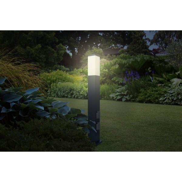 LED Wegeleuchte mit 2 Steckdosen + D??mmerungssensor anthrazit - Anwendungsbeispiel