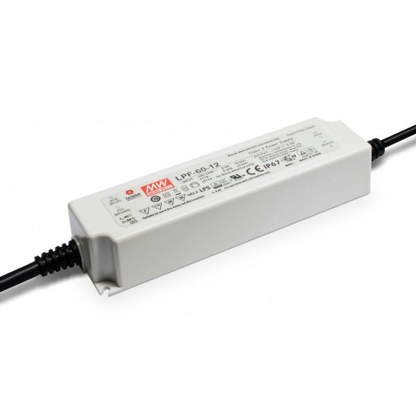 LED Netzteil MeanWell LPF-60-12   60 W 12 V/DC 0 - 5 A LED Konstantspannung (Default)