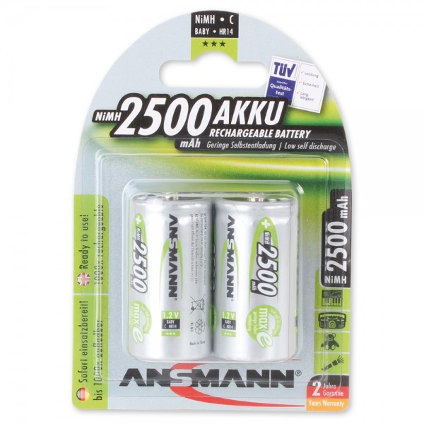 ANSMANN NiMH Akku Baby C 2500mAh maxE (2er Pack)