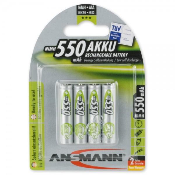 ANSMANN NiMH Akku Micro AAA 550mAh maxE im 4er Blister