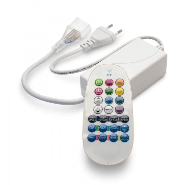 NeonFlex Pro230 RGB LED Streifen - angeschaltet - Controller, Netzteil (standardm????ig mit Euroflachstecker f??r Deutschland) und Funkfernbedienung