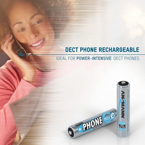 ANSMANN NiMH Akkus Micro AAA, HR03, 1,2V, 800mAh, maxE im 2er Blister ??? speziell f??r DECT-Telefone konzipiert