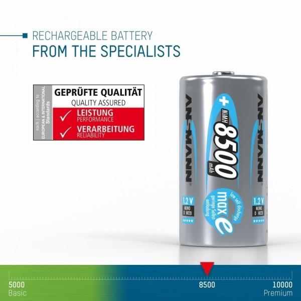 ANSMANN NiMH Akku Batterie Mono D Typ 8500mAh 1,2V maxE im 2er Blister  ??? erfolgreich auf elektrische, thermische, geometrische und mechanische Anforderungen gepr??ft