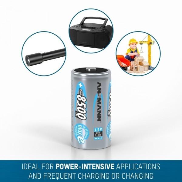 ANSMANN NiMH Akku Batterie Mono D Typ 8500mAh 1,2V maxE im 2er Blister  ??? ideal f??r Taschenlampen, Digitalkameras & Spielzeug, u.v.m.