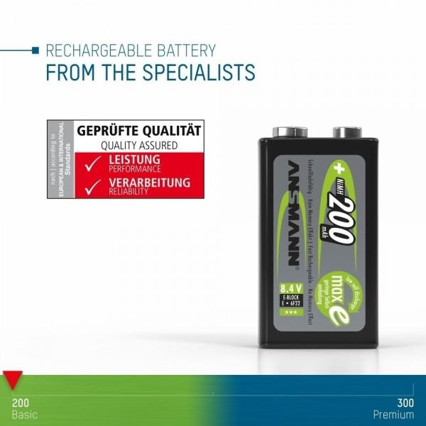ANSMANN NiMH Akku Batterie 9V E-Block Typ 200 ??? erfolgreich auf elektrische, thermische, geometrische und mechanische Anforderungen gepr??ft