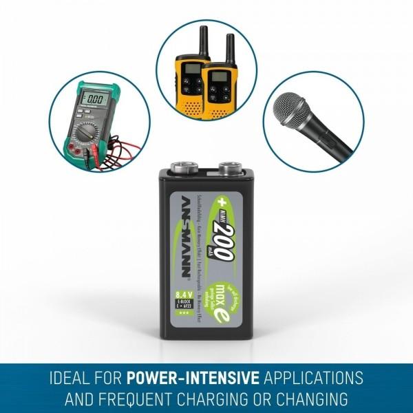 ANSMANN NiMH Akku Batterie 9V E-Block Typ 200  ??? ideal f??r Digitalkameras, Blitzger??te & medizinische Ger??te, u.v.m.