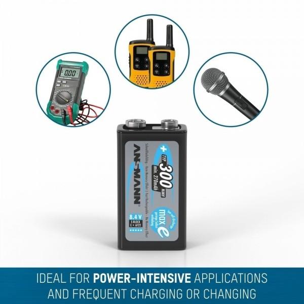 ANSMANN NiMH Akku Batterie 9V E-Block Typ 300  – ideal für Digitalkameras, Blitzgeräte & medizinische Geräte, u.v.m.