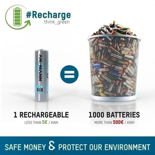 ANSMANN NiMH Akku Batterie 9V E-Block Typ 300 – wieder aufladbar, TüV-geprüft und umweltfreundlich