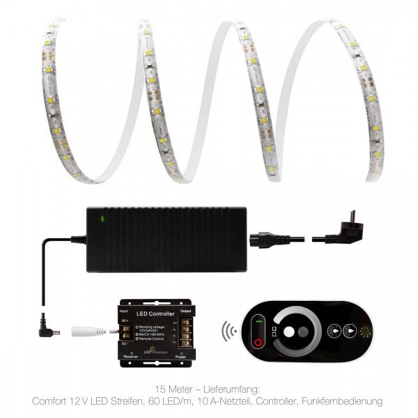Funk-Set  mit 15m Comfort 12V LED Streifen & 0A 12V Netzteil 120W