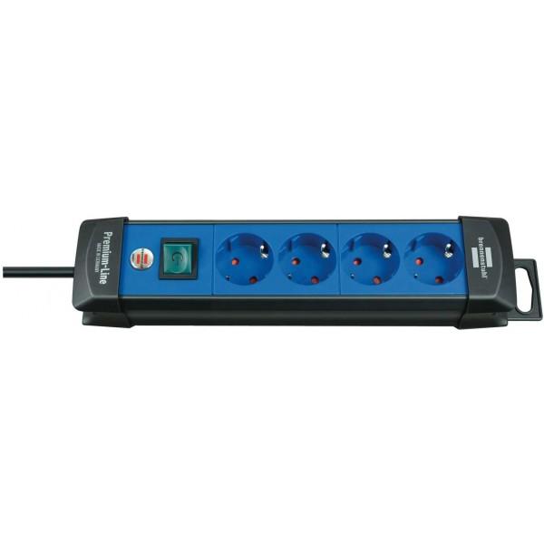Brennenstuhl Premium Steckdosenleiste 4-fach mit Schalter; 1,8m H05VV-F 3G1,5, schwarz/blau