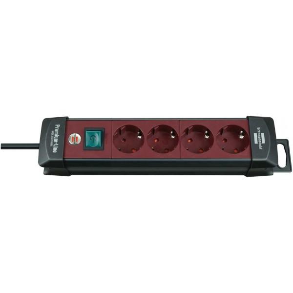 Brennenstuhl Premium Steckdosenleiste 4-fach mit Schalter; 1,8m H05VV-F 3G1,5, schwarz/ bordeaux-rot