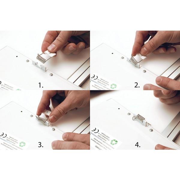 Montage des Federbügels an der Rückseite des LED Panels