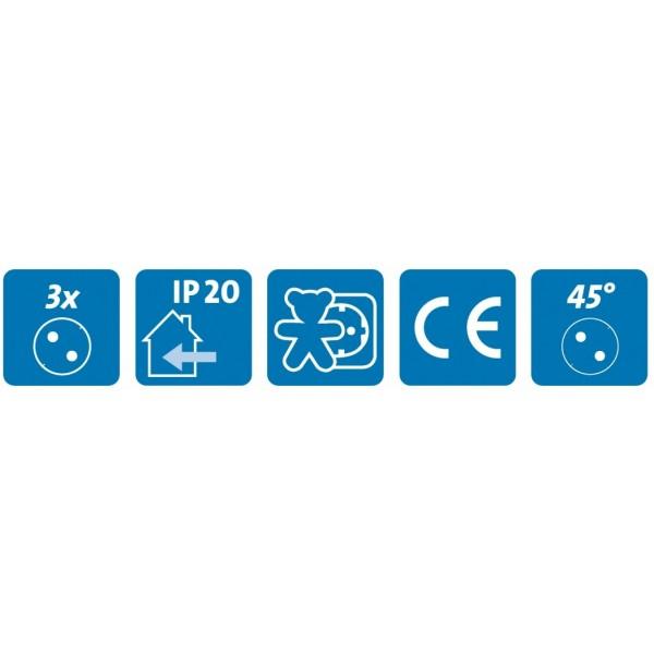 Kopp Steckdosenleiste mit Schalter, 3-fach, IP20, mit 45?? gedrehten T??pfen, 16A/250V, 1,4m Zuleitung, schwarz