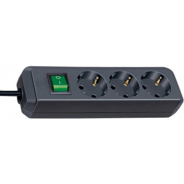 Brennenstuhl Eco-Line Steckdosenleiste mit Schalter 3-fach schwarz 3m H05VV-F 3G1,5