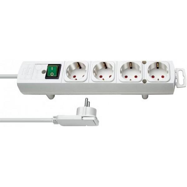 Brennenstuhl Comfort-Line Steckdosenleiste 4-fach wei?? mit  2m Kabel, Flachstecker und Schalter
