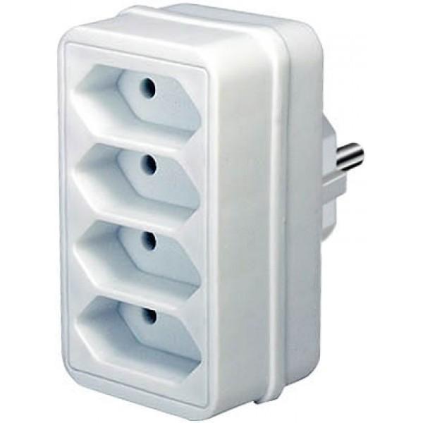 Brennenstuhl Brennenstuhl Adapterstecker mit vier Eurosteckdosen weiß