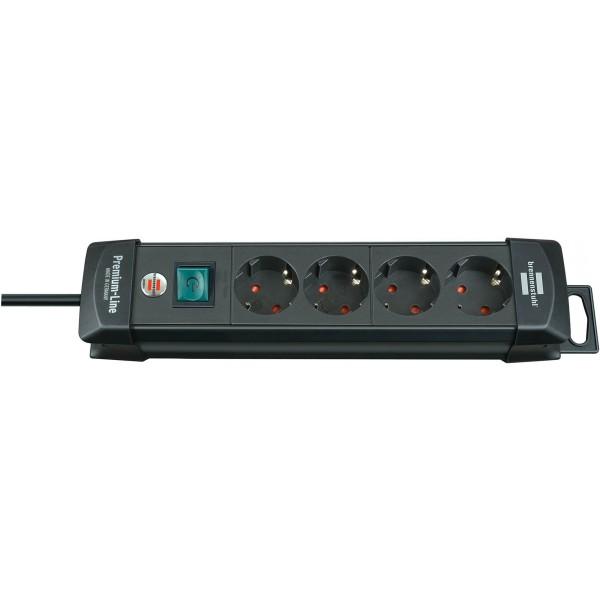 Brennenstuhl Premium Steckdosenleiste 4-fach mit Schalter; 1,8m H05VV-F 3G1,5, schwarz