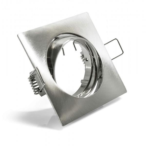 Schwenkbarer Einbauring f??r LED Spots?????????quadratisch?????????matt geb??rstete Edelstahloptik