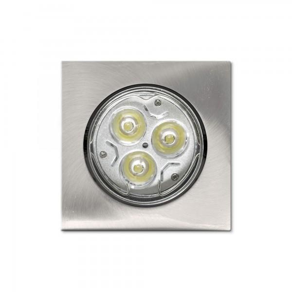 Schwenkbarer Einbauring f??r LED Spots?????????quadratisch?????????matt geb??rstete Edelstahloptik?????????Draufsicht (Lieferung OHNE Leuchtmittel!)