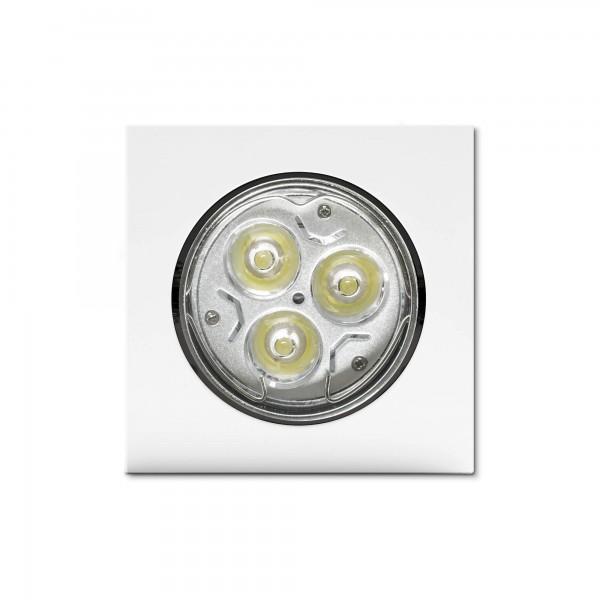 Schwenkbarer Einbauring für LED Spots–quadratisch–weiß–Draufsicht (Lieferung OHNE Leuchtmittel!)