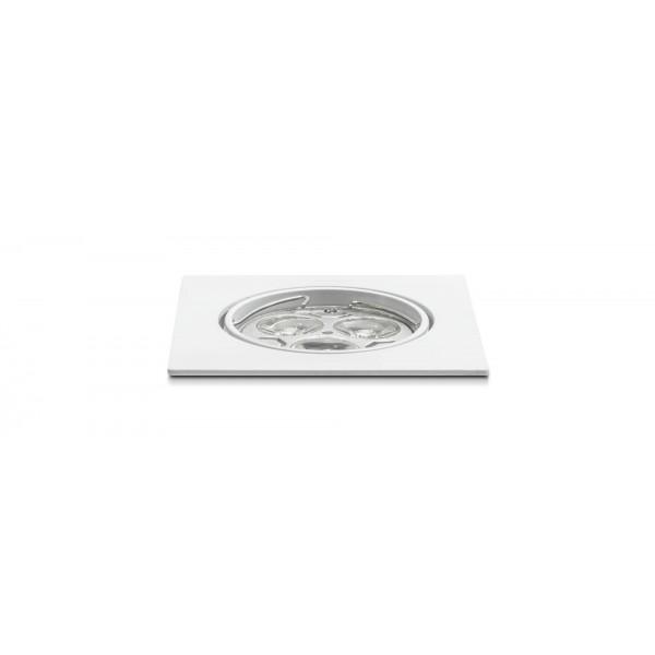 Schwenkbarer Einbauring für LED Spots–quadratisch–weiß–Anwendung (Lieferung OHNE Leuchtmittel!)