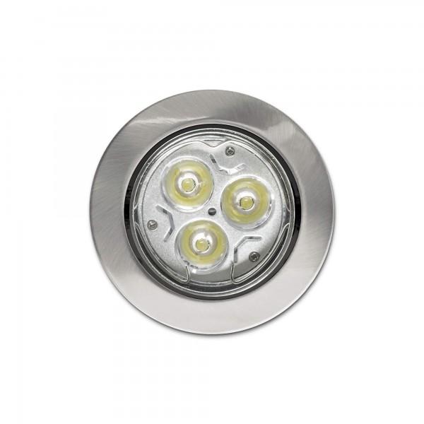 Schwenkbarer Einbauring f??r LED Spots?????????rund?????????matt geb??rstete Edelstahloptik?????????Draufsicht (Lieferung OHNE Leuchtmittel!)