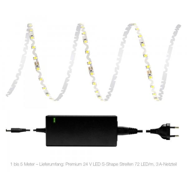 Premium 24V S-Shape Streifen Set - 72 LED/m - kaltwei?? - Lieferumfang 1 bis 5 Meter: 3A-Netzteil