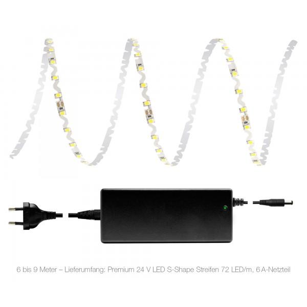 Premium 24V S-Shape Streifen Set - 72 LED/m - kaltwei?? - Lieferumfang 6 bis 9 Meter: 6A-Netzteil