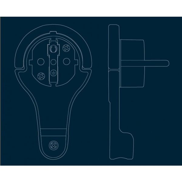 Kopp Verl??ngerung: extra flacher (8 mm)Schutzkontakt-Winkelstecker