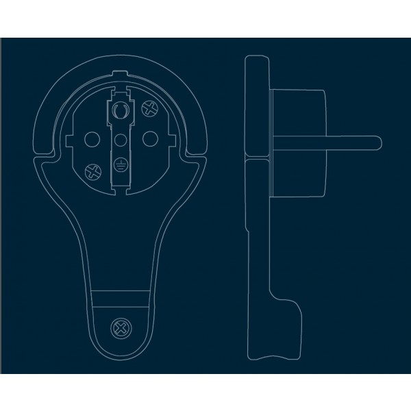 Kopp extra flacher (8 mm)Schutzkontakt-Winkelstecker - Schema