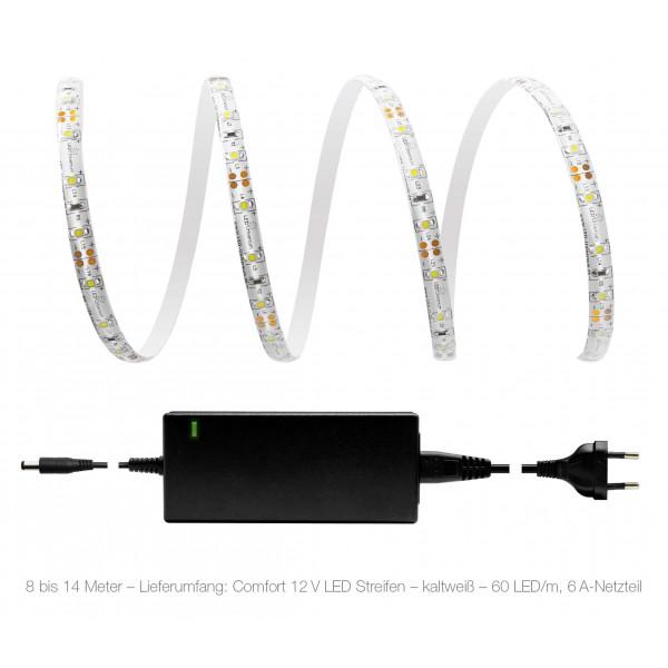 Comfort 12V LED Streifen Set kaltweiß 60 LED/m - 8 bis 14 Meter