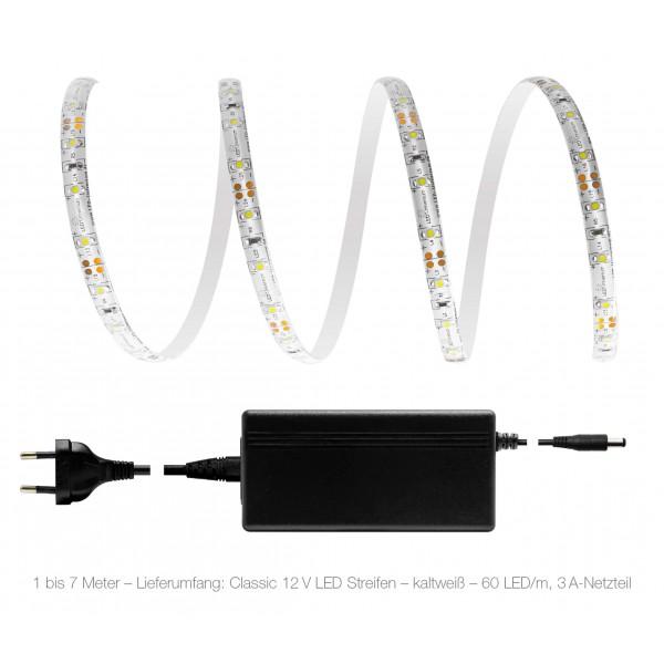 Comfort 12V LED Streifen Set kaltweiß 60 LED/m - 1 bis 7 Meter