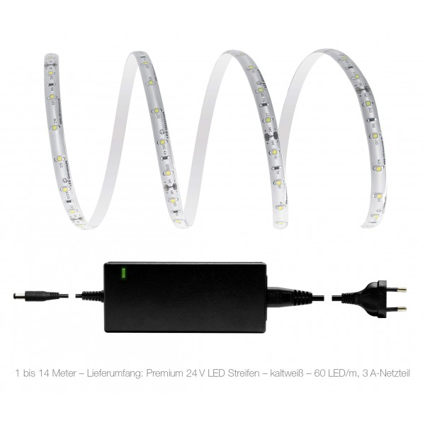 Premium 24V LED Streifen Set kaltweiß 60 LED/m - 1 bis 14 Meter