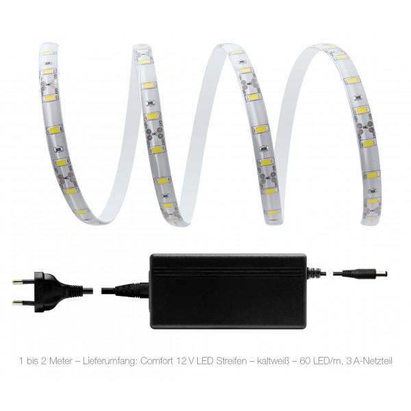 Comfort 12V LED Streifen High Power Set kaltweiß 60 LED/m - 1 bis 2 Meter