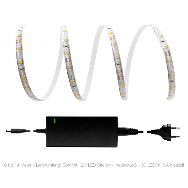 Comfort 12V LED Streifen Set neutralwei?? 60 LED/m - 8 bis 14 Meter